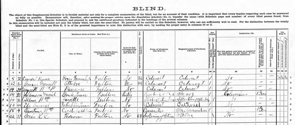 Portion of the 1880 Schedule of Defective, Dependent, and Delinquent Classes, Dover Township, Fulton County, Ohio. Image on Ancestry.com.