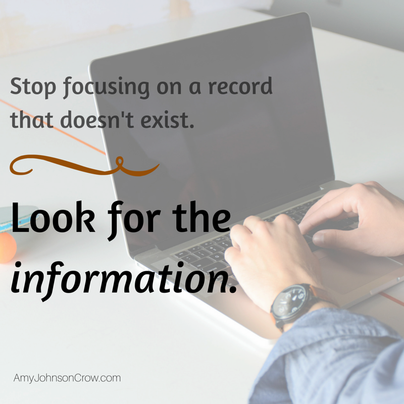 How to find genealogy information when a record doesn't exist