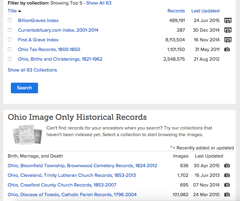Ohio Research Page on FamilySearch