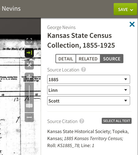 Ancestry Image Viewer Source tab