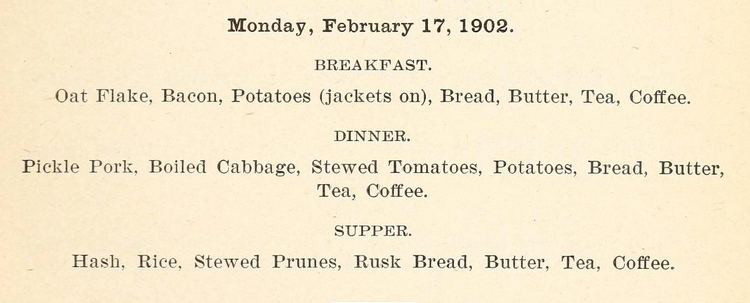 Indiana Soldiers Home, Menu, 1902