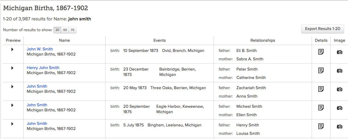 Michigan Births, 1867-1902 on FamilySearch