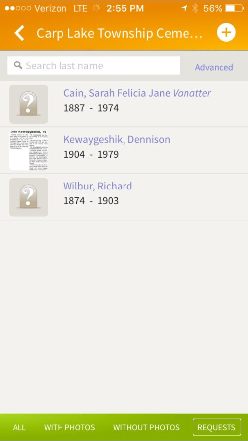 Screenshot of the photo requests page on the Find A Grave iOS app