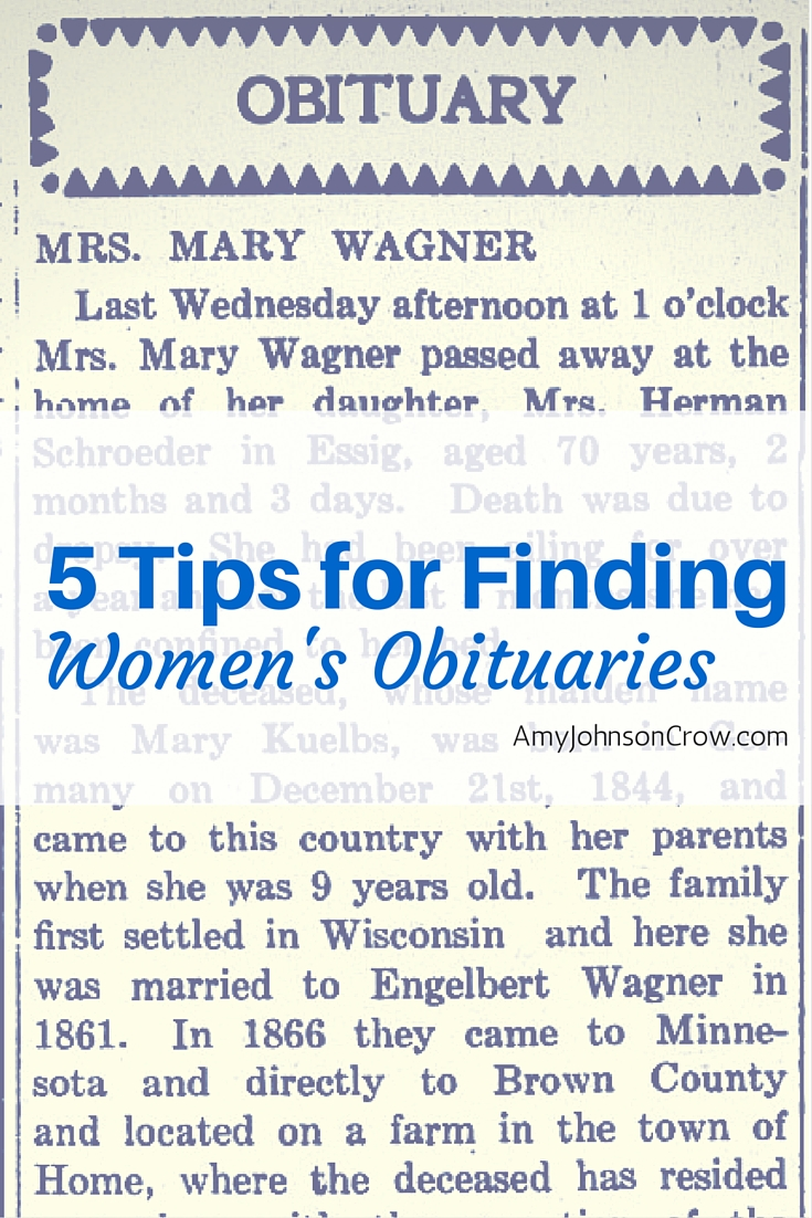 Women's obituaries can be hard to find. Here are 5 tips for finding more of them. #genealogy #familyhistory #ancestry