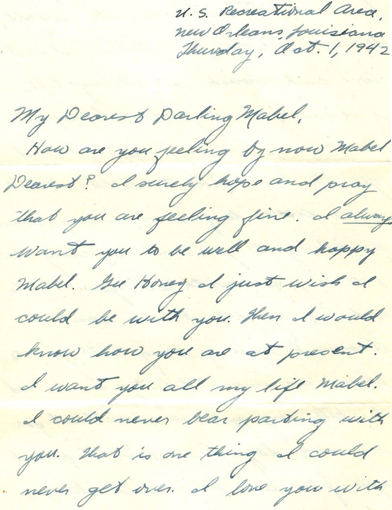 Decluttering family letters. Letter from George Miller to Mabel Poth, 1 October 1942. Genealogy Center, Allen County Public Library.