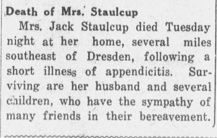 Obituary listing a woman with her husband's name
