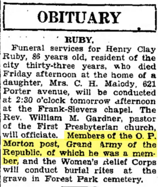Henry Clay Ruby obituary, Joplin Globe, 27 January 1929, page 6. Image courtesy Newspapers.com.