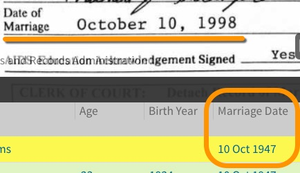 Indiana marriage records - wrong date