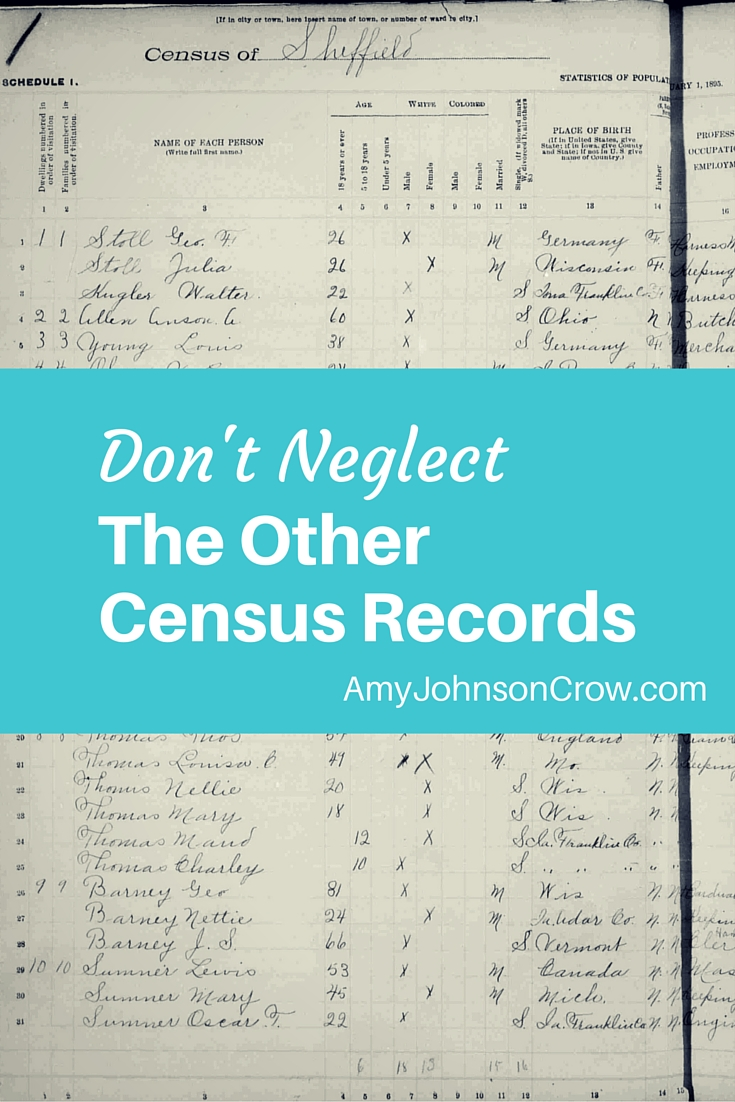Census records reveal so much about our ancestors. There's more than just the Federal census. Learn about the other types of census records you should explore in your genealogy.