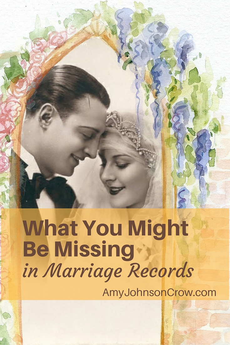 The bride and groom. The date and place. Those are the basic facts in a marriage record. But there a valuable clue that you might be missing.