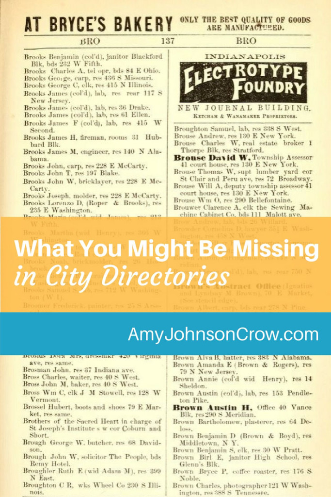 If you're stopping with just the name in a city directory or a county/farm directory, you are missing information in your genealogy research. Here are 3 things in a directory that you should look for.
