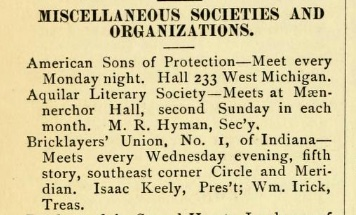 Indianapolis Directory for 1881 (Indianapolis: R.L. Polk, 1881), 60. Courtesy Internet Archive.