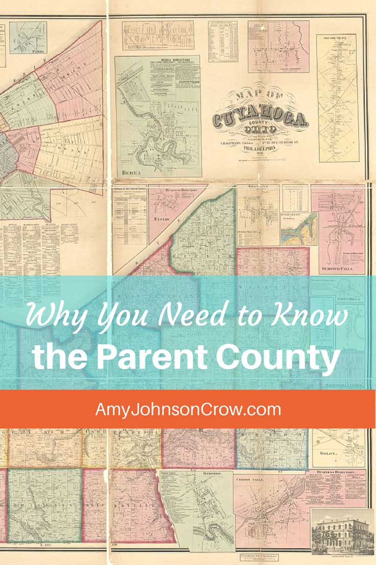 Counties have genealogies. Knowing how to find the parent county for the one you're researching in can help you find more records.