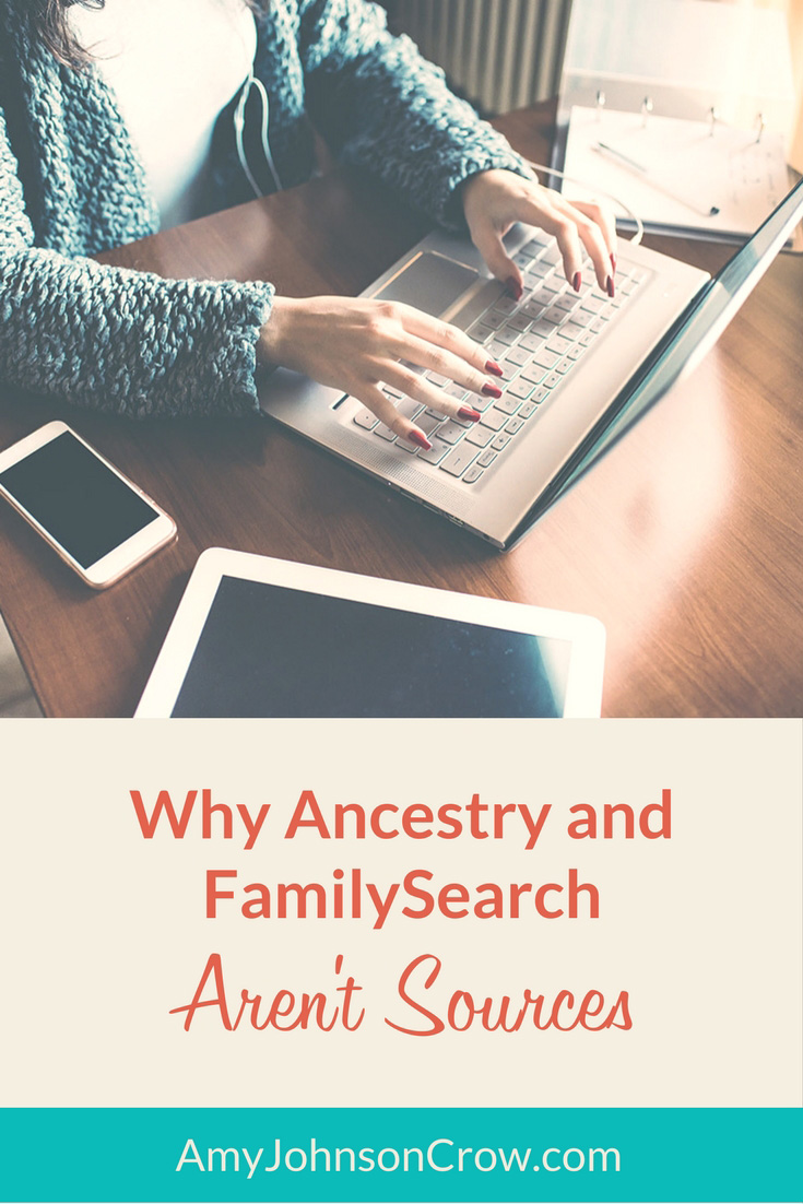 Ancestry, FamilySearch, and other mega #genealogy websites have tons of records, but they aren't sources. Here's why you need to be more specific.