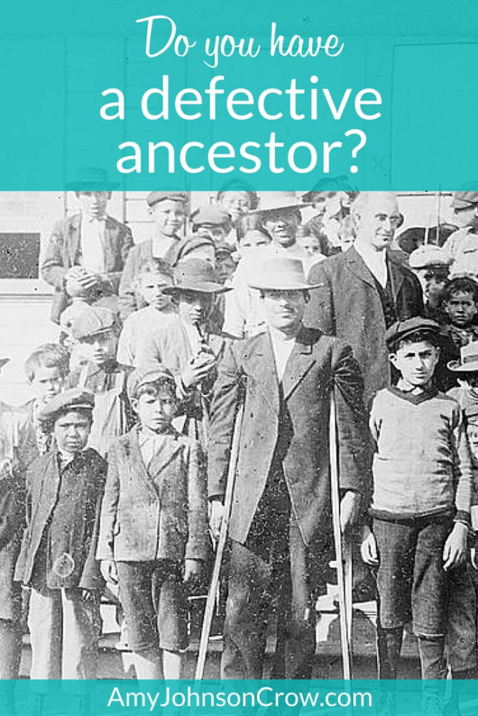 Do you have a defective ancestor Amy Johnson-Crow pinnable Pinterest graphic