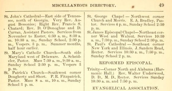 Indianapolis City Directory, 1879 showing churches