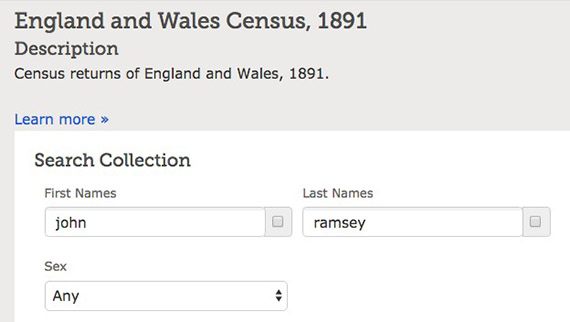 Census of England and Wales, 1891, Search