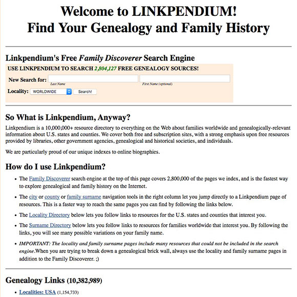 Linkpendium home page