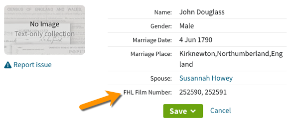Ancestry with FHL film number