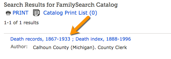 FamilySearch Catalog results