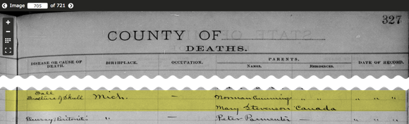 Minnie Haines death record (part 2)