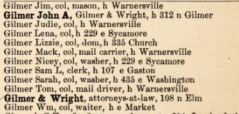 Gilmers in the 1890 Greensboro, NC directory