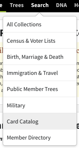 Ancestry Card Catalog menu