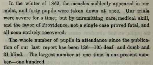 Michigan Asylum for the Deaf, annual report 1862, measles