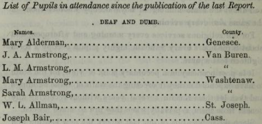 Michigan Asylum for the Deaf, annual report 1862, students