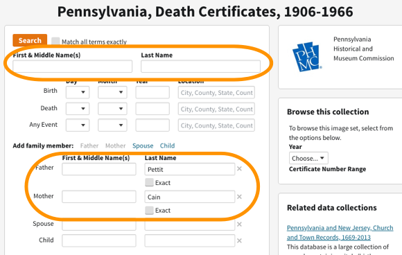 Searching Pennsylvania Death Certificates