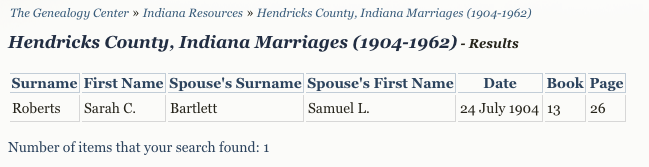 Hendricks County, Indiana Marriage Database