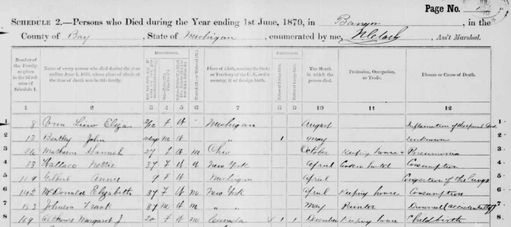1870 mortality schedule, Bay County, Michigan.