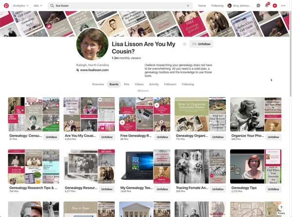 Using Pinterest for Genealogy - different genealogy boards