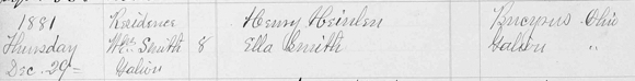 Heinlen-Smith marriage record from Grace Episcopal Church,