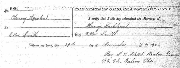 Heinlen-Smith Civil Marriage Record