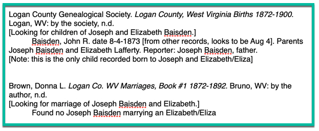 Sample of genealogy notes showing how to record information