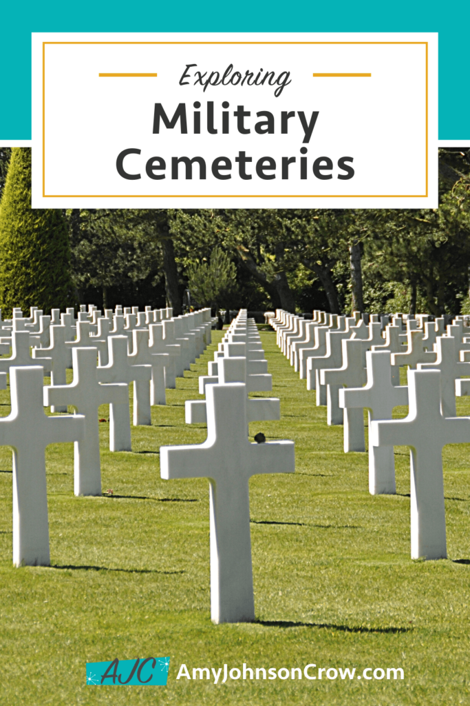 Exploring military cemeteries with a photo of American Cemetery at Normandy