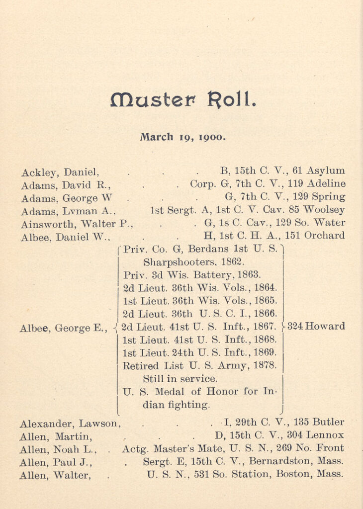 Muster Roll, Admiral Foot Post 17, Grand Army of the Republic, Dept. of Connecticut.