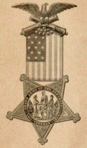 Grand Army of the Republic insignia, ribbon with medal