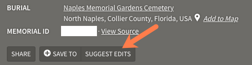screenshot of Find A Grave Suggest Edits button. First part of the FindAGrave memorial transfer process.