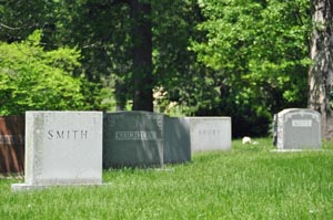 cemetery, photo showing backs of tombstones with surnames